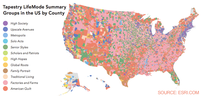 Esri Tapestry Segmentation Voter Gravity