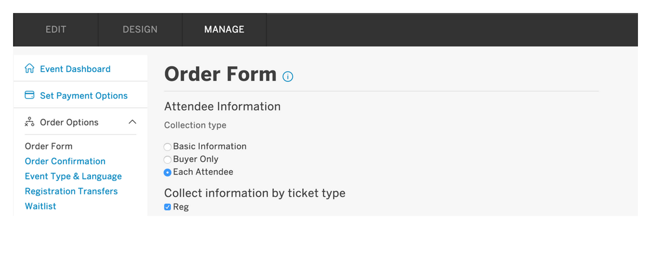 Eventbrite Order Form